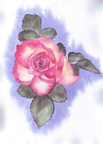 Rose, Blüte, Blätter, Malerei