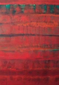 Temperamalerei, Rot schwarz, Grün, Malerei