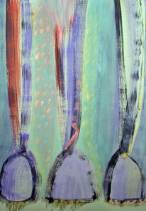 Violett, Grün, Temperamalerei, Rot schwarz