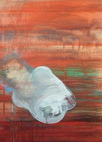 Frau, Temperamalerei, Rot, Weiß