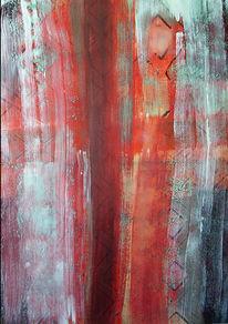 Weiß, Rot, Temperamalerei, Orange