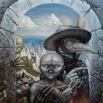 Schädel, Kreuz, Geist, Wolken
