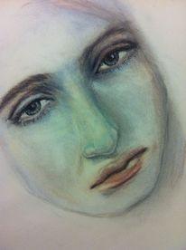 Gesicht, Pastellmalerei, Kreide, Zeichnungen