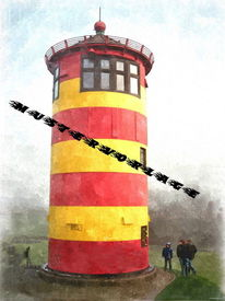 Ostfriesland, Öldruck, Leuchtturm, Nordsee