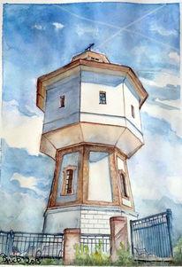 Aquarell, Nordsee, Leuchtturm