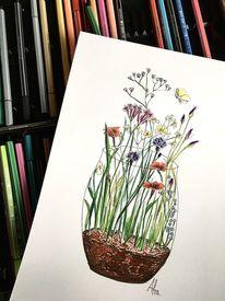 Blumenwiese, Zeichnung, Frühling, Zeichnungen