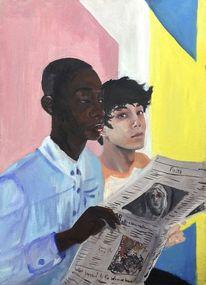 Bunt, Schwarz weiß, Ölmalerei, Afrikaner