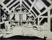 Zeichnungen, Zyklus, Architektur, Dachboden