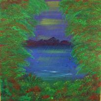 Baum, Ölmalerei, Grün, Wasser