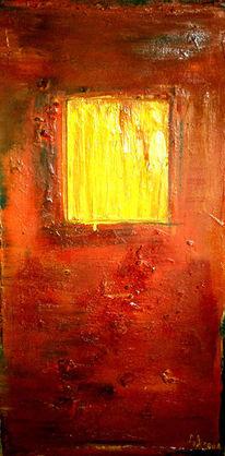 Fenster, Collage, Holz, Mischtechnik