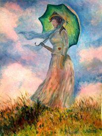 Monet, Gouache auf karton, Sonnenschirm, Frau