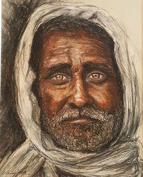 Alter mann, Pastellmalerei, Ferner osten, Malerei
