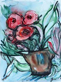 Blumentopf, Blumen, Rose, Aquarell