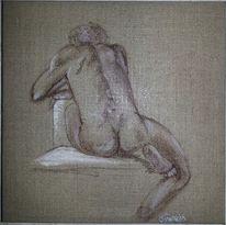 Sitzen, Acrylmalerei, Malerei, Akt