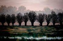 Kopfweiden landschaftsmalerei, Naturalistisch, Malerei, Allee