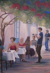 Cafe´, Menschen, Urlaub, Malerei