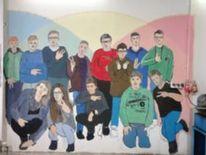 Schule, Wandmalerei, Malerei,