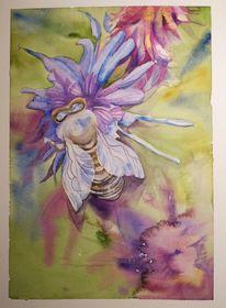 Biene, Lavendel, Insekten, Aquarell