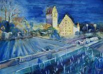 Altstadt, Dämmerung, Beleuchtung, Aquarell