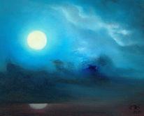 Nebel, Nacht, Vollmond, Malerei