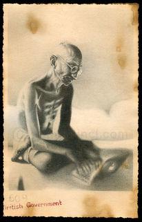Gandhi, Retro, Apfel, Zeichnungen