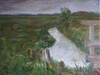 Idylle, Dach, Friesland, Ölmalerei