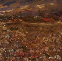 Küstenlandschaft, Herbst, Bauernhof, Malerei
