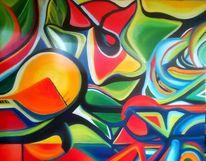 Abstrakt, Gemälde, Ölmalerei, Bunt