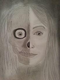 Schädel, Portrait, Bleistiftzeichnung, Zeichnungen
