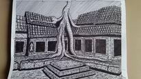 Zeichnung, Tempel, Asien, Angkor wat