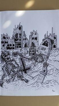 Skelett, Tod, Zerstörte stadt, Grab