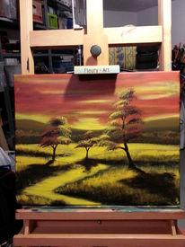 Landschaft, Baum, Sonnenaufgang, Acrylmalerei