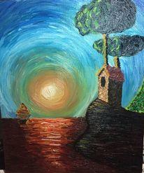 Pastös, Leinen, Landschaft, Ölmalerei
