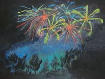 Feuerwerk landschaft natur, Malerei