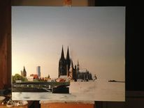 Gemälde, Stadt, Realismus, Köln