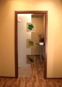 Glas, Tür, Blumen, Glastür