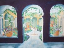 Kloster, Säule, Licht, Pflanzen