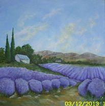 Landschaft, Lavendel lavendelfeld, Acrylmalerei, Malerei