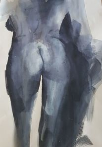 Akt, Gesäß, Frau, Malerei