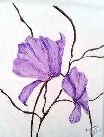 Alpenveilchen, Lila, Acrylmalerei, Blumen