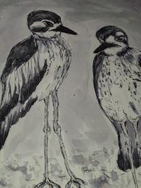 Füller, Tusche, Vogel, Monochrom