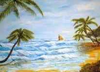 Landschaft, Palmen, Erholung, Surfen