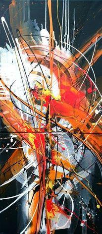 Weiß, Rot schwarz, Orange, Acrylmalerei