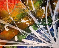 Bunt, Malerei, Orange, Acrylmalerei