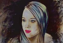 Buntstiftzeichnung, Grafit, Portrait, Bleistiftzeichnung