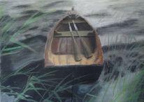 Landschaft, Boot, Malerei