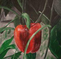Acrylmalerei, Stillleben, Malerei, Paprika
