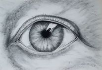 Spiegelung, Augen, Blick, Kohlezeichnung