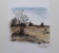 Natur, Wiese, Pastellmalerei, Baum