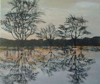 Sonnenuntergang, Sumpf, Baum, Acrylmalerei